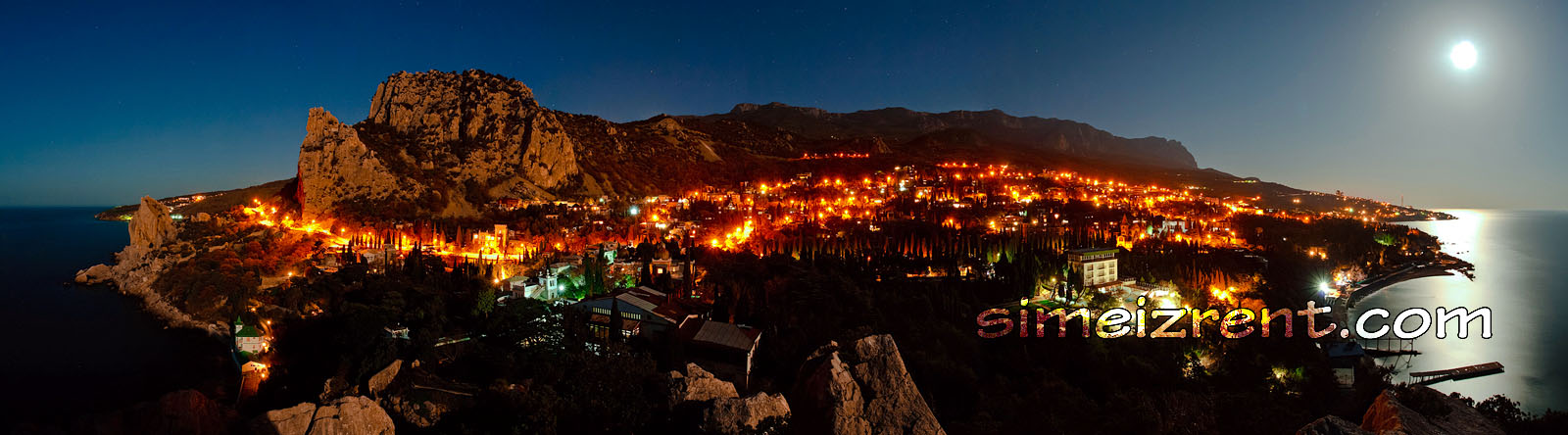 Крым, Симеиз, вид на Симеиз со скалы Дива, панорама